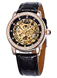 Carrie Hughes Womens Rose Gold Automatic Watch Self-Winding Mechanical Skeleton Rhinestone Leather CH78