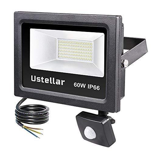 Ustellar 4800lm 60W Motion Sensor LED Security Light, Outdoor Super Bright Flood Lights, IP66 Waterproof PIR Floodlight Landscape Wall Lights, 5000K Daylight White