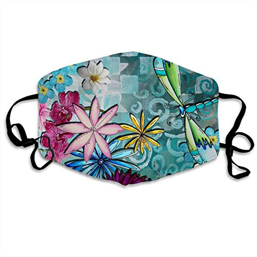 Whimsical Floral Flowers Dragonfly Art Anti-Dust Anti-Pollution Windproof Cover