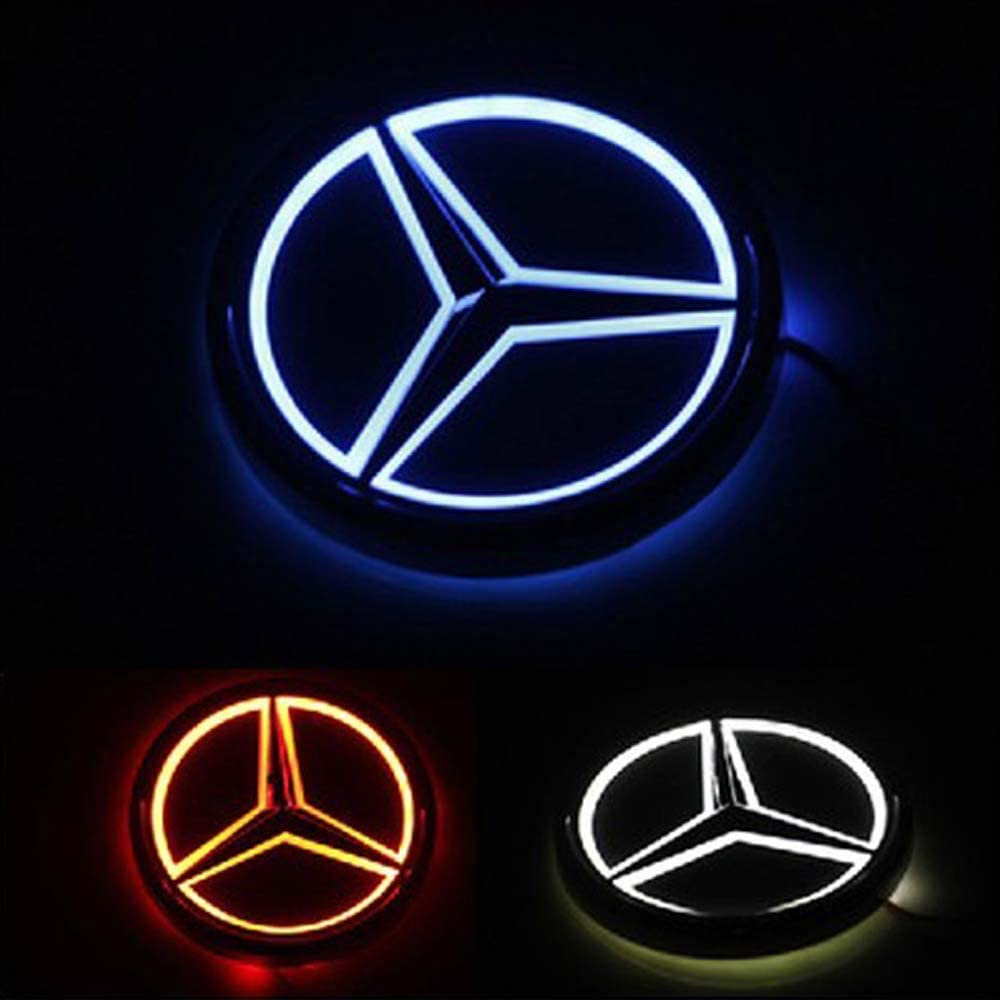 5D LED Car Tail Logo Light Badge Lamp Emblem For for Mercedes GLK-Class,S-Class Maybach,A/C/CLA/GLA/G/M/S/SL-Class AMG,etc All Models for Mercedes-Benz all of cars (white)