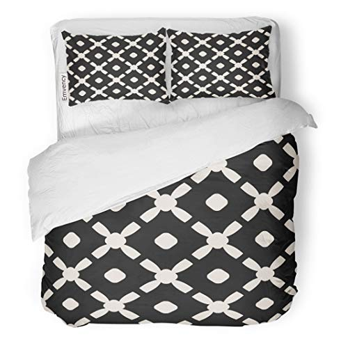 - Semtomn Decor Duvet Cover Set Twin Size Geometric Elegant Carved Lattice Grid Cross Shapes Circles Monochrome 3 Piece Brushed Microfiber Fabric Print Bedding Set Cover