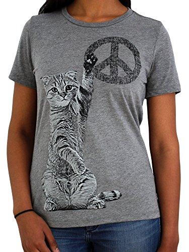 Paw Addict Women's Peace Cat Graphic T-Shirt (Large)