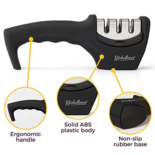 Kitchen Knife Sharpener - 3-Stage Knife Sharpening Tool Helps Repair, Restore and Polish Blades - Cut-Resistant Glove Included (Black) by Kitchellence (Image #2)
