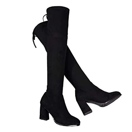 jiang-zx Zapatos de Mujer, Botines Negros de Encaje Social, Botas elásticas Delgadas