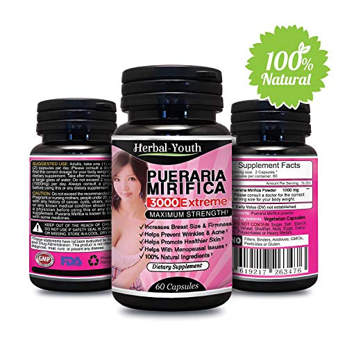 Natural Pueraria Mirifica Daily 1000mg Capsules - Breast Enhancement Pills For Women - Breast Enlarger, Vaginal Health, Menopause Relief, Skin & Hair Health 60 Vegetarian Capsules (Best Treatment For Breast Enlargement)