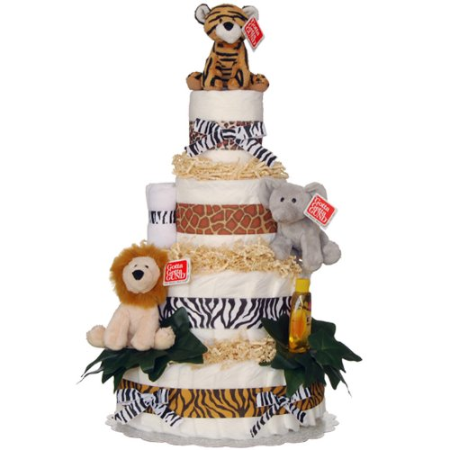 Diaper Cake - Welcome to the Jungle 4 Tier Diaper Cake by Lil' Baby Cakes