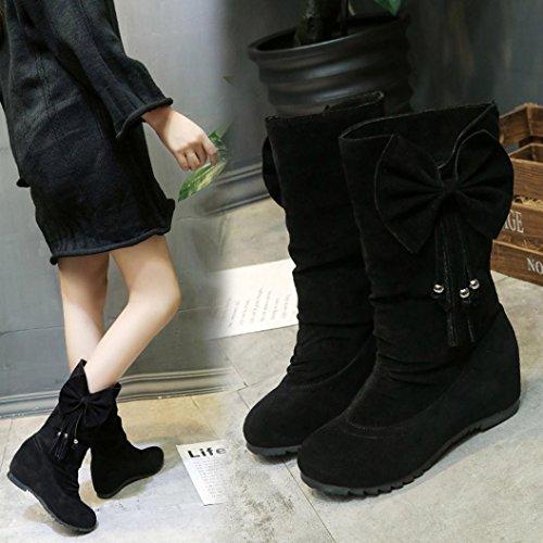 Winterlaarzen Voor Dames, Zoals Mijn Laarzen Strik Kwast Winterlaarzen Warme Mid-kalf Laarzen Winterschoenen Zwart