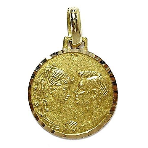 Médaille pendentif 18k pendentif en or amour visages [440gr] - personnalisable - ENREGISTREMENT inclus dans le prix