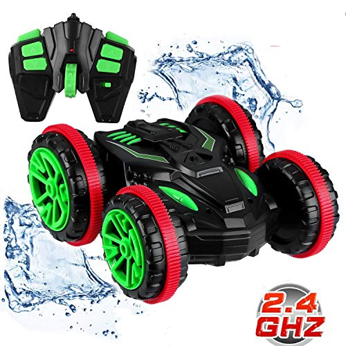 (Blexy RC Stunt Car Remote Control Car Boat 4WD 6CH 2.4Ghz Off Road Electric Racing Vehicle 360° Spins & Flips Land Water Multifunction Amphibious)