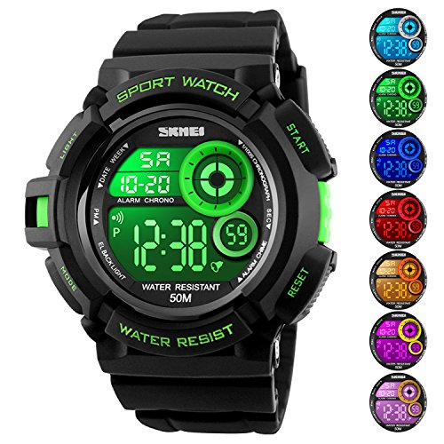 Men's Digital Sports Watch LED Screen Large Face Military Watches and Waterproof Casual Luminous Stopwatch Alarm Simple Army Watch Green by USWAT