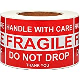 SJPACK Large Fragile Stickers 4'' x 6'' Eye-catching Fragile - Handle with Care - Do Not Drop - Thank You Shipping Labels(500 Labels/Roll)