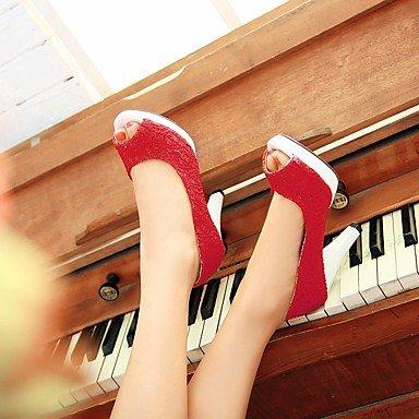 pwne Tacones mujer Primavera Club zapatos casual PU Chunky talón Beige ROJO BLANCO NEGRO rojo US8.5 / UE39 / UK6.5 / CN40