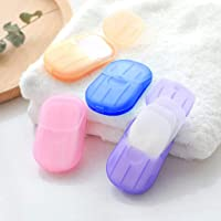 Sendke 1 Box (20 Sheets) Portable Disposable Soap Paper Travel Hand Washing Bath Scented Paper Natural Soft Foaming Washing Hand Bath Toiletry Soap for Outdoor, Camping Hiking