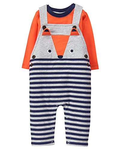 Gymboree Baby Boy Overall One-Piece Set, Fox Orange, 3-6 mo
