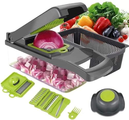 ear&ear 12 in 1 Frucht Gemüsehobel, Gemuseschneider mit 6 Edelstahl Klingen, Kartoffelschneider, Zwiebel Zerkleinerer, Spiralschneider für Würstchen/Obst