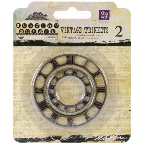 Prima Marketing Sunrise Sunset Vintage Clock Face Mechanicals Metal Vintage Trinkets, 1-Inch to 1.5-Inch, 2/Pack