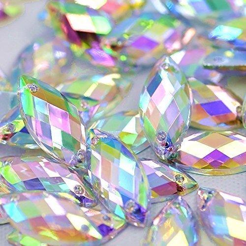 Big Sale 100pcs 7x15mm Horse Eye Shape Crystal AB Color Clear Sew On Acrylic Rhinestones Flatback Fancy Stones Sewing For Clothing Wedding Dress Decorations (AB)