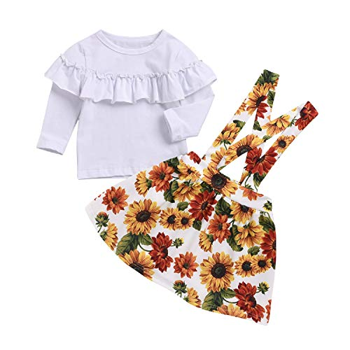 - Baby Girl Sunflower Outfit Ruffle Shirt Toddler Suspender Floral Skirt Set (White, 90/1-2 Years)