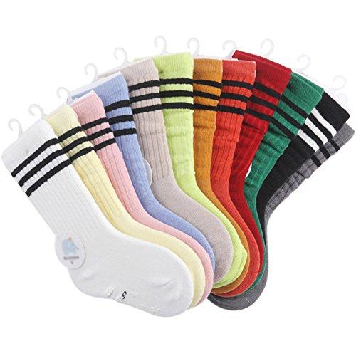 VWU 6 Pack Little Girls Boys Tube Socks Stripe Knee High Socks 1-10 Years (S (1-3 years))