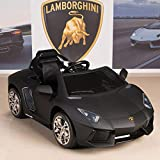BIG TOYS DIRECT Lamborghini Aventador 12V Kids Ride On Battery Powered Wheels Car with 2.4GHz RC Remote, Black
