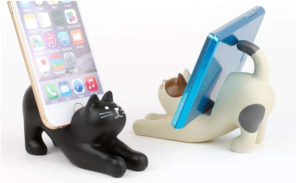 Home Living Room Multifunctional Desktop Decoration Resin Portable Cat Mobile Phone Holder Lazy Desktop Support Frame Miyabitors Creative Cartoon Mobile Phone Holder Color : Black