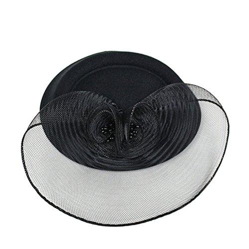 Baobao Wedding Bridal Cocktail Party Bow Net Veil Fascinator Hair Clip Mini Top Hat