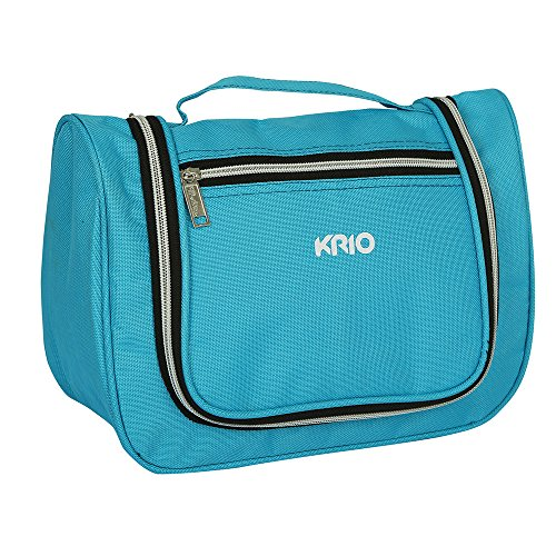 KRIO Designs BLUE Travel Toiletry Makeup Cosmetic Bag