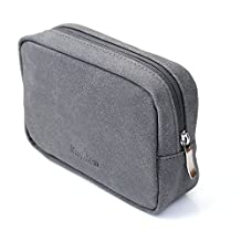 Electronics Travel Organizer Bag, Charger Storage Pouch PU Suede Organizer Bag for MacBook Mouse, Charger, Cables or Power Adapter Electronics Accessories Travel Carrying Bag Power Supply Case - Grey