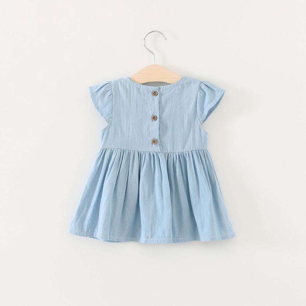 5ded3baa65a68 Amlaiworld Toddler Baby Girls Bowknot Child Dress Solid Denim Clothes Dress:  Amazon.co.uk: Clothing