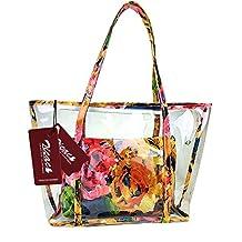 Zicac Women Girl Fashion Floral Printing Handbag Beach Bag Jelly Transparent Semi-clear PVC Shoulder Bag Ladies Waterproof Swimming Tote Bag