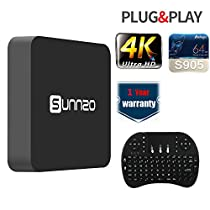 SUNNZO SK08 Smart TV Box Android 6.0 Amlogic S905, Streaming Media Player WiFi 1080P HD with Wireless Keyboard