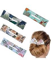 4 stycken hår bun maker, donut bullar hår twist återanvändbar munk hårknutar clips twist frisyr hårknutar verktyg hårband frisör tillbehör för tjockt eller långt hår