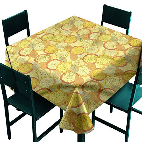 DONEECKL Square Tablecloth Yellow and Brown Citrus Fruit Lemon and Durable W36 xL36