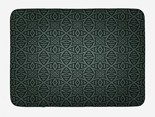 - Ambesonne Dark Grey Bath Mat, Medieval Folkloric Ornament Celtic Pattern Vintage Style Abstract Floral Circles, Plush Bathroom Decor Mat with Non Slip Backing, 29.5