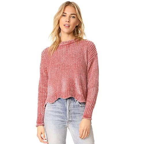 Hot English Factory Women's Scallop Hem Knit Sweater for cheap