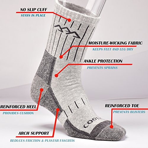 SUDILO Crew Cushion Hiking Trekking Socks,Coolmax Multi Performance Antiskid Wicking Outdoor Athletic Socks by SUDILO (Image #3)