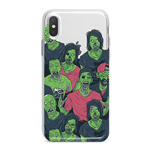 Lex Altern TPU Case for iPhone Apple Xs Max Xr 10 X 8+ 7 6s 6 SE 5s 5 Clear Creative Funny Green Zombies Portrait Horror Scary Cover Soft Silicone Protective Transparent Girl Teen Gift]()