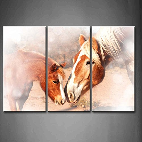 First Wall Art - 3 Panel Wall Art Sweet Dreamy A Small Pony And A Huge Draft Horse Sniffing Noses Friendship Without Limits Painting Pictures Print On Canvas Animal The Picture For Home Modern Decoration piece (Stretched By Wooden Frame,Ready To Hang)