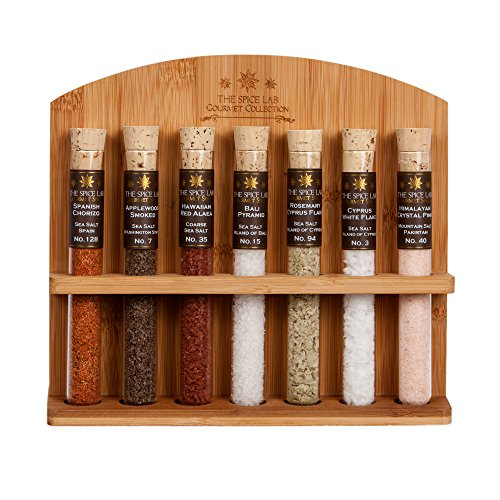 The Spice Lab Premium Gourmet Sea Salt Sampler Collection No.1b - A collection of 7 Finishing Salts - Taste the world of (Flakes 1 Ounce Tube)