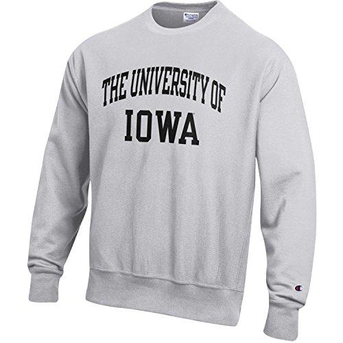 - Champion NCAA Iowa Hawkeyes Men's Men's Reverse Weave Crew, Medium, Gray