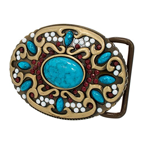 an Turquoise Stone Western Metal Fashion Belt Buckle ()