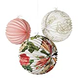 Talking Tables Blossom & Brogues Floral Paper Lanterns for a Tea Party, Wedding or Birthday, Multicolor (3 Pack)
