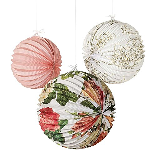 Talking Tables Blossom & Brogues Floral Paper Lanterns for a Tea Party, Wedding or Birthday, Multicolor (3 Pack)]()