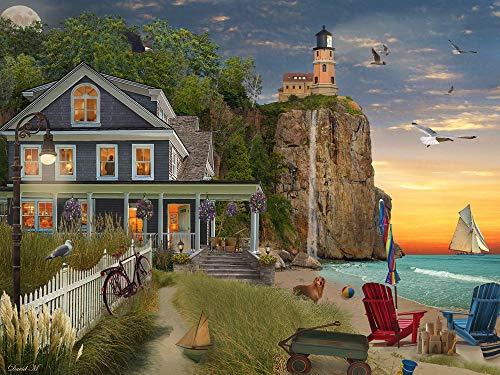 Vermont Christmas Company Beachside Lighthouse Jigsaw Puzzle 550 Piece