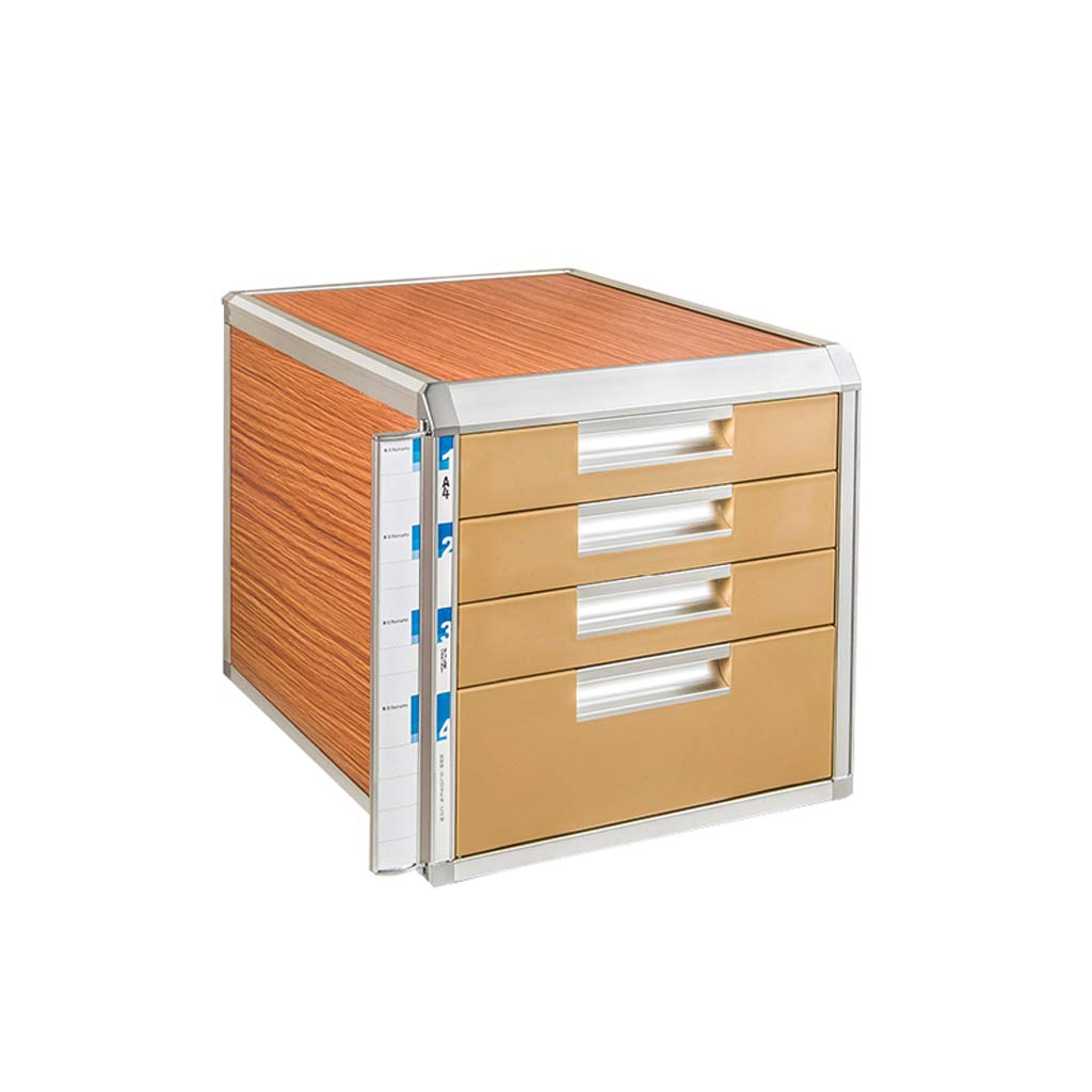 LCSHAN Desktop File Cabinet Aluminum Alloy Lock Drawer Data File Desktop Storage Box (Size : A Style) by File Shelf