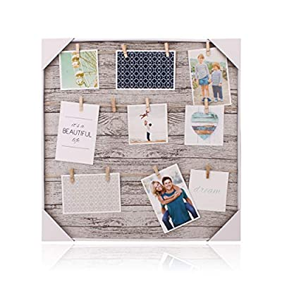 """Ochoice Photo Frames with Clip of 12 Pictures Display Show The Sweetest for Home Decoration - This Hanging photo display is a casual, artistic way to display your favorite photos and artworks Supports three twine cords with 12 wooden """"clothespin"""" clips.Linen frame Easily rotate contents for an ever-changing display - picture-frames, bedroom-decor, bedroom - 51 N7RfwxEL. SS400  -"""