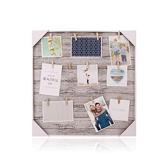 HANTAJANSS Clip Photo Holder, Photo Collage Frame, Large Picture Display Frame with 12 Wood Clothespin Clips for Hanging Home Decoration 20 ×20 inches Grey - 🏠 THE PERFECT MATCHED SIZE: We have learned lots of suggestions from customers to design this clip photo frame with approximately 20 ×20 inches size. 🏠 EXCELLENT FRAME MATTING: Considering many aspects, This unique mat design gives the ability for the photo to stand out and be easily shown without creating an aggressive environment! 🏠 EASY TO INSTALL - This clip photo holder goes with a metal pre-drilled holes on the back, It can be mounted on walls. No need for adhesive or special equipment! It is great as wall decor for living room, bedroom, gallery, office, and wedding anniversary. - picture-frames, bedroom-decor, bedroom - 51 N7RfwxEL. SS570  -