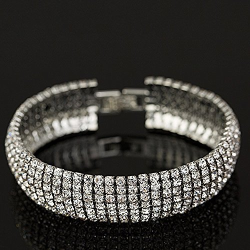 Crystal 6 Row Rhinestone Tennis Bracelet w/ Toggle Clasp - Silver Plated by Foxy Lady Jewelry (Image #3)