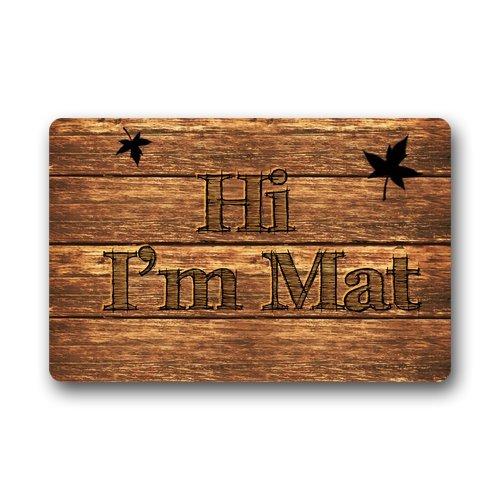 Hi I Am Mat Custom Doormat Door Mat Machine Washable Rug Non Slip Mats Bathroom Kitchen Decor Area Rug 23.6x15.7 inch