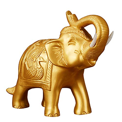 Feng Shui Resin Elephant Ganesh Statue Symbol Power Strength Good Luck Home Office Decor(Gold)